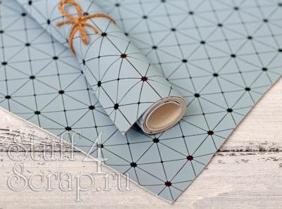 Кожзам «Геометрия», бледно голубой с черным тиснением, 35*45 см