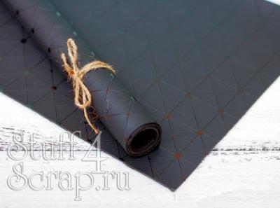 Кожзам «Геометрия», темно-синий с черным тиснением, 35*35см