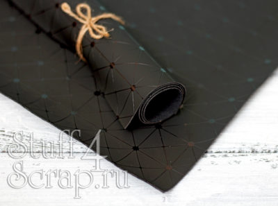 Кожзам «Геометрия», черный с черным тиснением, 35*45 см