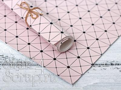 Кожзам «Геометрия», пыльно розовый с черным тиснением, 35*45 см