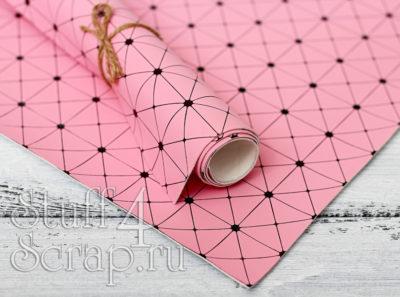 Кожзам «Геометрия», розовый с черным тиснением, 35*45 см