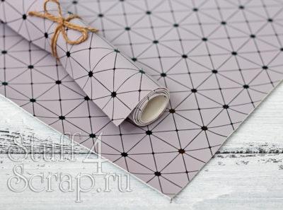 Кожзам «Геометрия», серый с черным тиснением, 35*40 см