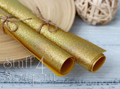 Ткань с глиттером, золото, 34х35 см