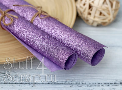 Ткань с глиттером, фиолетовый, 34х35 см