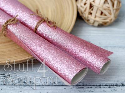 Ткань с глиттером, пыльно розовый, 34х35 см