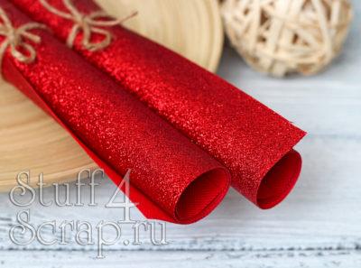 Ткань с глиттером, красный, 34х35 см
