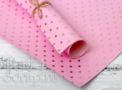 Кожзам «Звездочки», розовый, 35*45 см