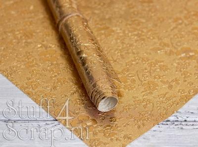 """Кожзам с тиснением """"Цветы"""", золото с золотом, 35*45 см"""