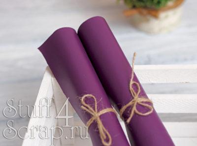 Кожзам мягкий матовый на флисе, фиолетовый, 35*45 см