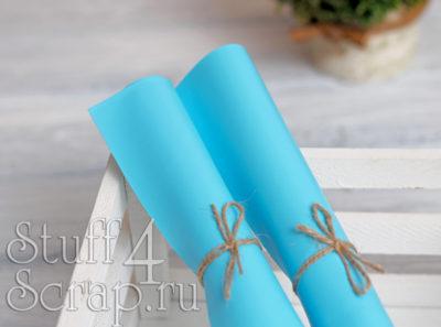Кожзам мягкий матовый на флисе, голубой, 35*45 см