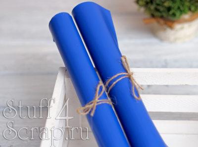 Кожзам мягкий матовый на флисе, королевский синий, 35*35см