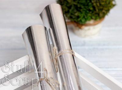 Кожзам «Металлик», серебро, 35*45 см