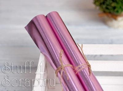 Кожзам «Металлик», розовый, 35*45 см