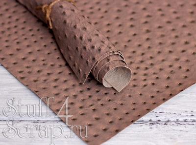 Кожзам «Игуана», коричневый, 45х35 см
