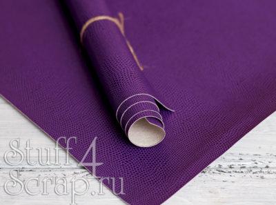 Кожзам «Питон», фиолетовый, 43х35 см