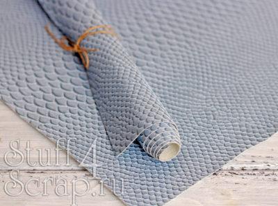 Кожзам «Змея», бледно голубой, 45х35 см