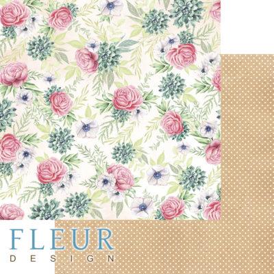 """Лист бумаги """"Пионовый калейдоскоп"""", коллекция """"Дыхание весны"""" (Fleur design), 30х30 см"""