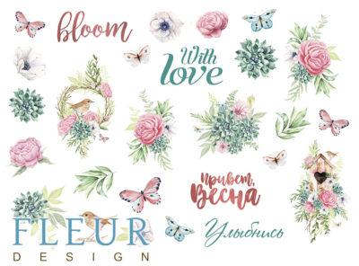 """Лист для вырезания коллекция """"Дыхание весны""""  (Fleur design), А4"""