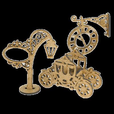"3D фигурки шедоубокса №58 ""Часы, Карета и Фонарь"" (Фабрика Декору)"
