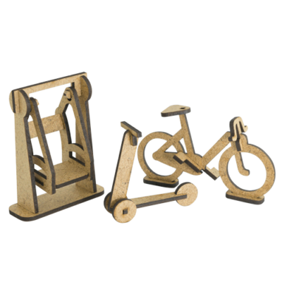 "3D фигурки шедоубокса №60 ""Качели, Велосипед и самокат"" (Фабрика Декору)"