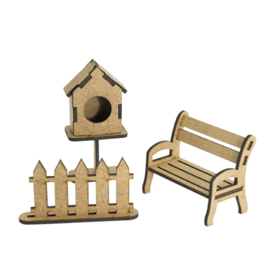 "3D фигурки шедоубокса №61 ""Скворечник, лавочка, забор"" (Фабрика Декору)"