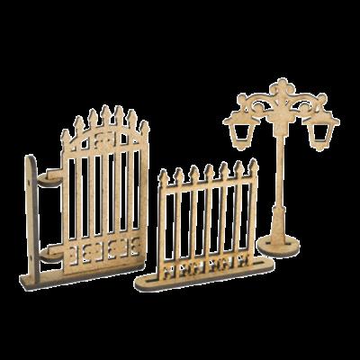 "3D фигурки шедоубокса №62 ""Фонарь, забор, калитка"" (Фабрика Декору)"