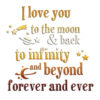 "Надпись из термотрансфера ""I love you to the moon and back"" - 2, 11*11 см"