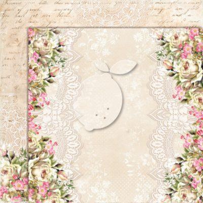 "Лист бумаги коллекции ""Дом роз-05"" (Lemon Craft), 30,5х30,5 см"