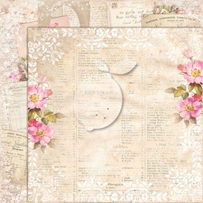 "Лист бумаги коллекции ""Дом роз-07"" (Lemon Craft), 30,5х30,5 см"