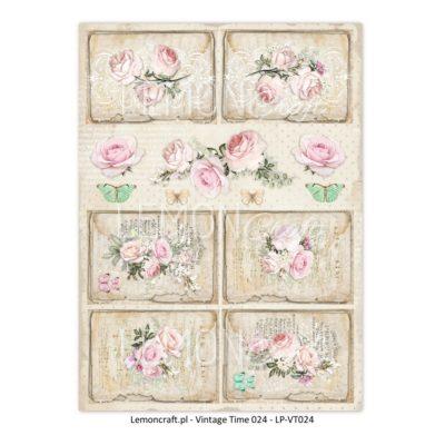 """Лист бумаги """"Винтажное время 024"""" коллекции """"Yesterday"""" (Lemon Craft), А4"""