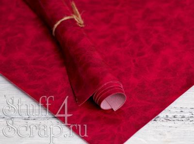 Кожзам «с разводами», малиновый, 45х35 см