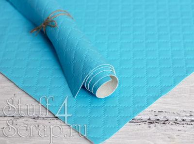 Кожзам «Ромбики», голубой, 45х35 см