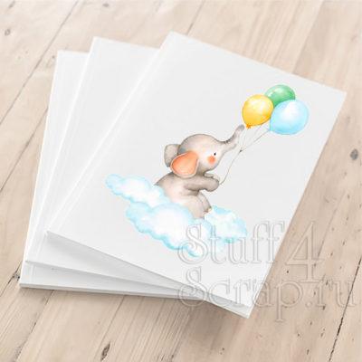 """Цветная картинка из термотрансфера """"Слоник с шарами """", 10 см, для светлых или темных тканей"""