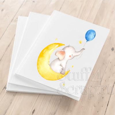 """Цветная картинка из термотрансфера """"Слоник на луне"""", 10 см, для светлых или темных тканей"""