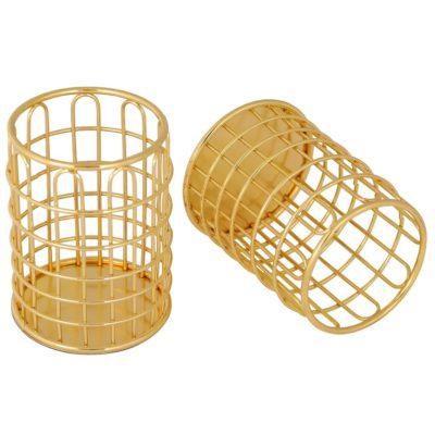 Металлический стаканчик, круглый, золото
