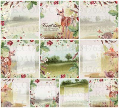 """Печатный блок для альбома """"Forest Story"""", 21х21 см"""