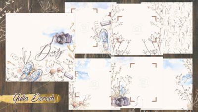 """Печатный блок для альбома """"Diary travel"""""""", 21х21 см или с длинным корешком"""