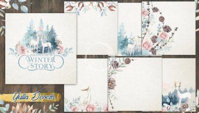 """Печатный блок для альбома """"Winter Story"""", 21х21 см или с длинным корешком"""