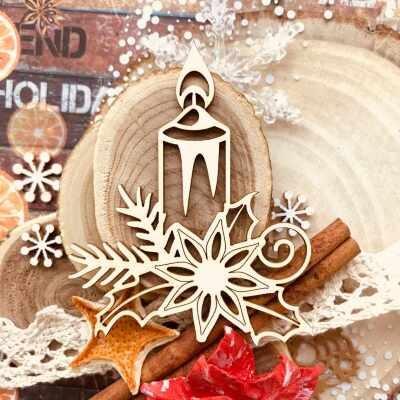 """Чипборд """"Рождественская свеча"""" (Wood Home), 55*70 мм, 1 шт."""