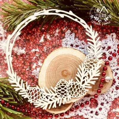 "Чипборд рамка ""Уютное Рождество"" (Wood Home), 90*85 мм, 1 шт."