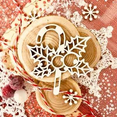 "Чипборд ""Новогодний леденец"" (Wood Home), 57*60 мм, 1 шт."