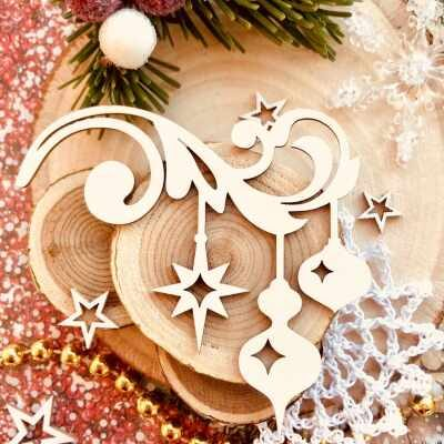 "Чипборд ""Новогодние звёздочки и фонарики"" (Wood Home), 77*75 мм, 1 шт."