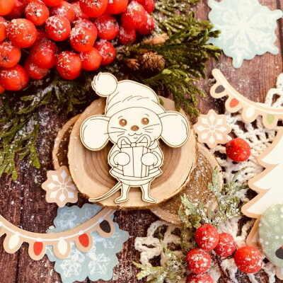 "Чипборд ""Мышка Буся с подарком"" (Wood Home), 45*53 мм, 1 шт."