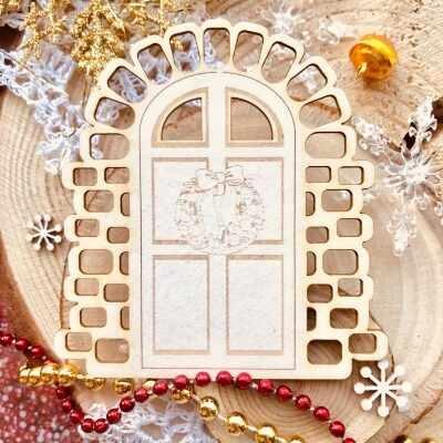 """Чипборд """"Новогодняя дверь"""" (Wood Home), 85*90 мм, 1 шт."""