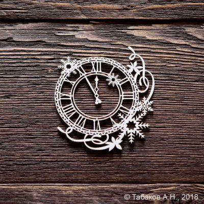 """Чипборд """"Часы со снежинками"""" (Арт Лайн), 1 эл."""