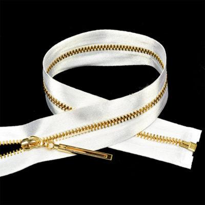 Молния неразъемная №3 атласная тесьма, белый/золото, 18 см