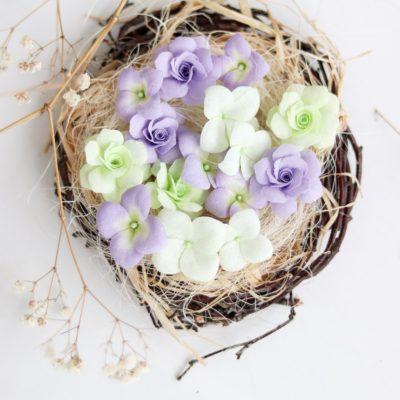 """Декоративные цветы из ткани """"Гортензии и розы"""" (Pastel Flowers), сиреневый, 15 шт"""