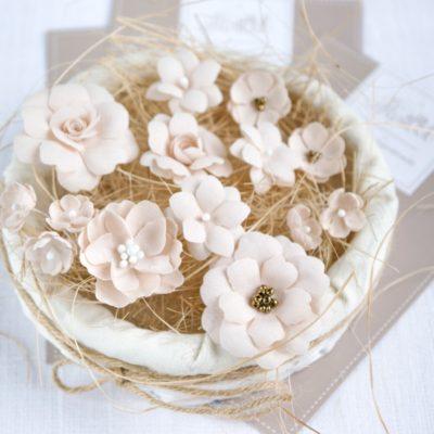 """Декоративные цветы из ткани """"Бежевый микс"""" (Pastel Flowers), 14 шт"""