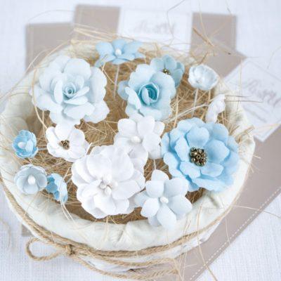 """Декоративные цветы из ткани """"Голубой микс"""" (Pastel Flowers), 14 шт"""