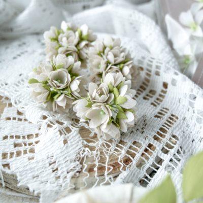 """Декоративные цветы из ткани """"Малыши"""" (Pastel Flowers), бежевые, 10 шт"""